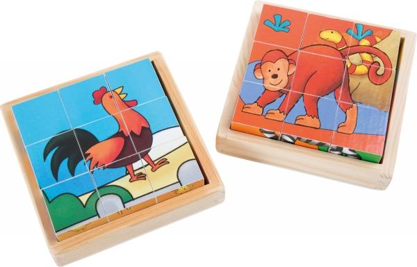 Cuburi puzzle Zoo-Ferma Set de 2 3