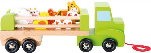 Camion de tras din lemn cu 6 animalute 2