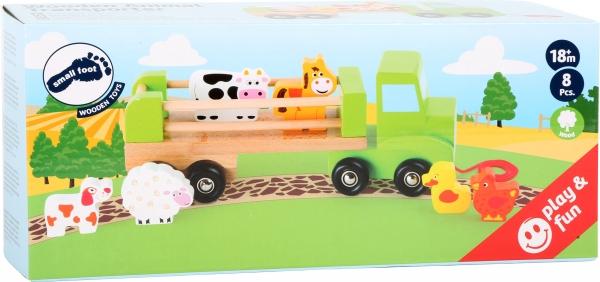 Camion de tras din lemn cu 6 animalute 1