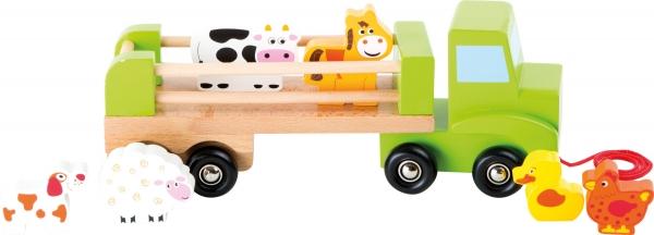 Camion de tras din lemn cu 6 animalute 0