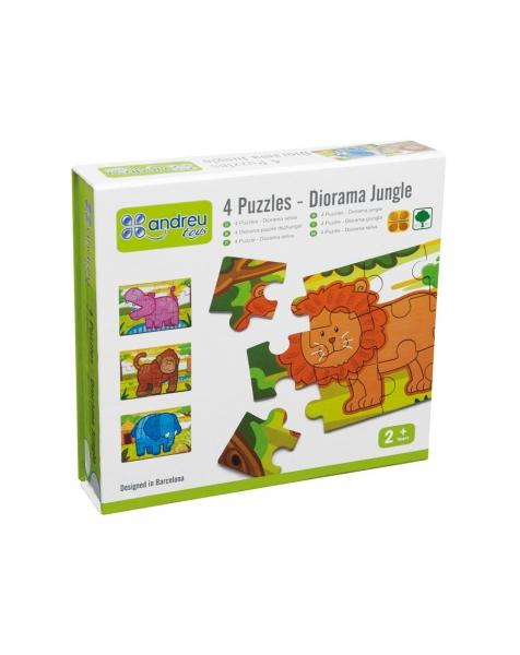 Jungla - 4 puzzle-uri tip diorama 0