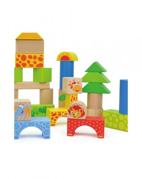 Cuburi de construit din lemn 50 piese 1