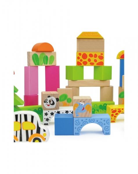 Cuburi de construit din lemn 50 piese 2