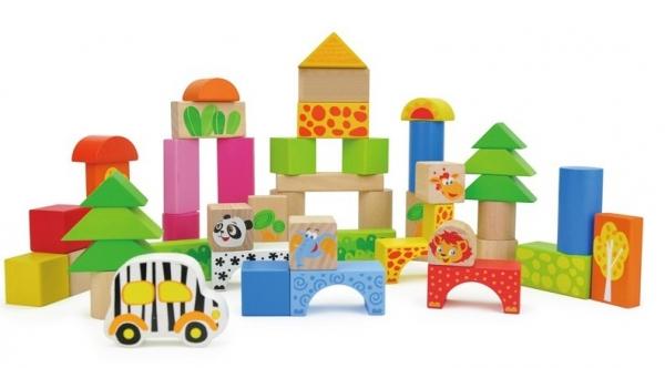 Cuburi de construit din lemn 50 piese 0